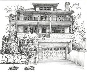 Architecture Expressed In House Drawings In 2020 Custom House Portrait House Portraits Landscape Drawings