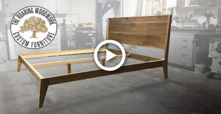 Making A Mid Century Modern King Size Bed In Walnut Diy Modern Bed Frame Mid Century Modern Bed Diy Modern Bed