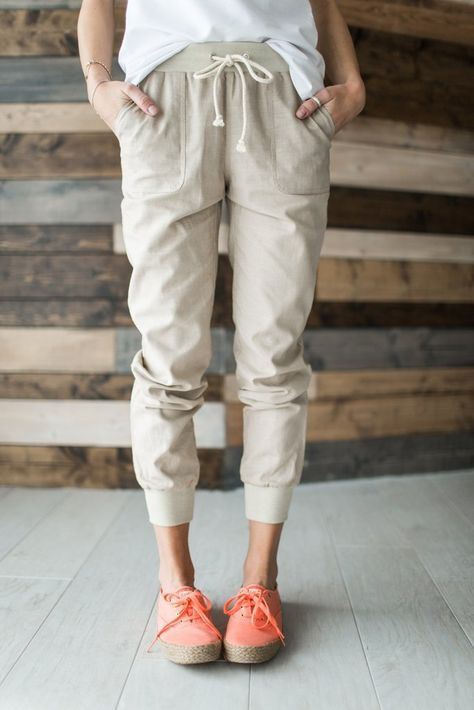 better price for official price original Linen Joggers | Bottoms | Fashion, Joggers outfit, Joggers ...