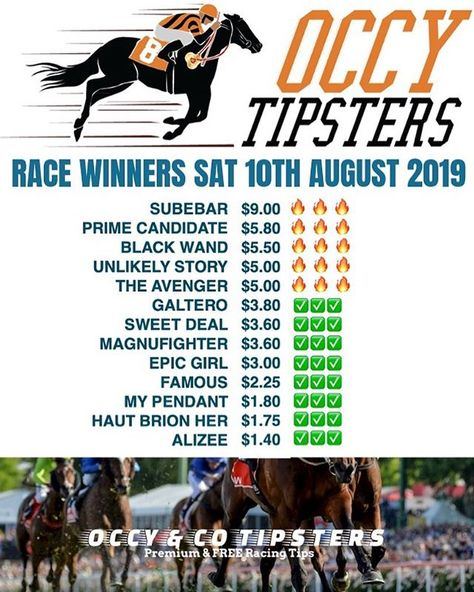 Who are you going to trust this Spring Carnival?  . Like our page and receive all Premium Tips for Sat 18 August 2019 for FREE!  . OCCYS RACE RESULT WINNERS SAT 10TH AUG 2019! ROSEHILL R1 - SUBEDAR-WIN   DAWANI-PLACE   TRIFECTA -$404   FIRST FOUR-$1097.70!! R2 - HAUT BRION HER-WIN  FLEMINGTON R3 - JUMBO OZAKI-PLACE   TRIFECTA-$423.20   FIRST FOUR-$4552.80!! . Picking Winners Left and Right! . THATS AN OCCY PROMISE!OCCY & CO TIPSTERS . Occy Tipsters FREE & Premium Tips on most all Australian meet