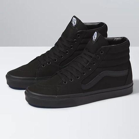 Casual Sneakers, Sneakers Fashion, High Top Sneakers, All Black Sneakers, Mens Vans Shoes, Men's Shoes, Vans Men, Van Shoes, Shoes Jordans