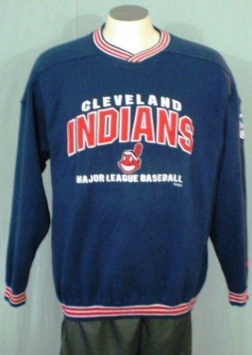 new concept d8f72 d35ca Details about Cleveland Indians Blue Large Sweat Shirt by ...