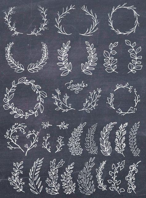 CLIP ART: Whimsical Laurels & Wreaths // Photoshop Brushes //