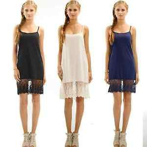 Womens-Skirt-Extender-Solid-Knit-Lace-Full-Slip-Top-Dress-Camisole-Chiffon-Lace
