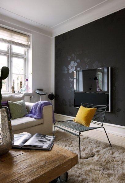 Parede Da Sala Preta Decoração Salas Pinterest - Black wall behind tv