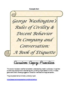Cursive Copywork George Washington S Book Of Civilties Cursive Practice Writing Exercises George Washington