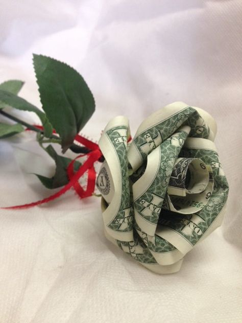 me ~ Handcrafted Single Money Origami Rose Homemade Christmas Gifts, Homemade Gifts, Diy Gifts, Cash Gifts, Origami Rose, Origami Art, Origami Money Flowers, Origami Bookmark, Money Rose