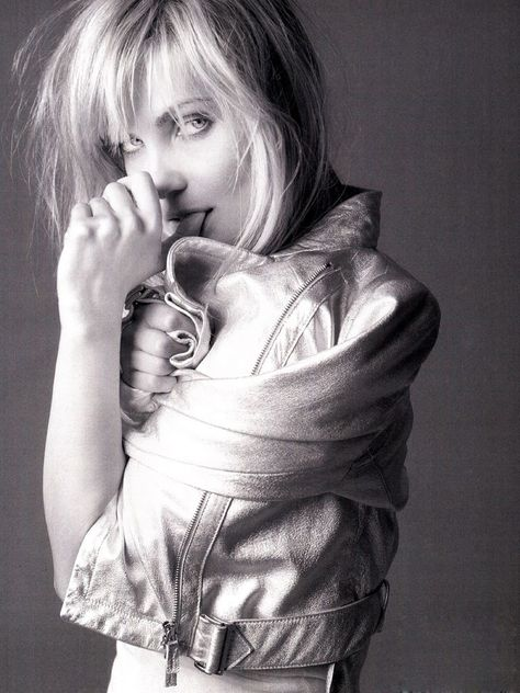 "designerleather: "" Emmanuelle Seigner - Emporio Armani leather jacket """