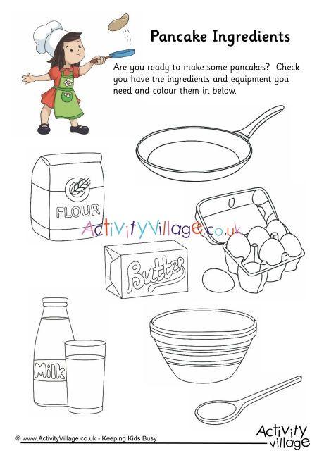Pancake Ingredients Colouring Page Pancake Day Pancakes