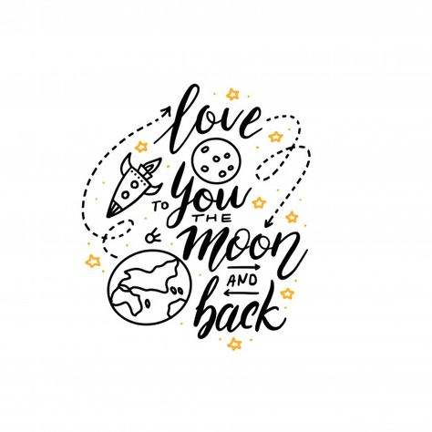 Love you to the moon and back Premium Ve...   Premium Vector #Freepik #vector #banner #wedding #poster #vintage
