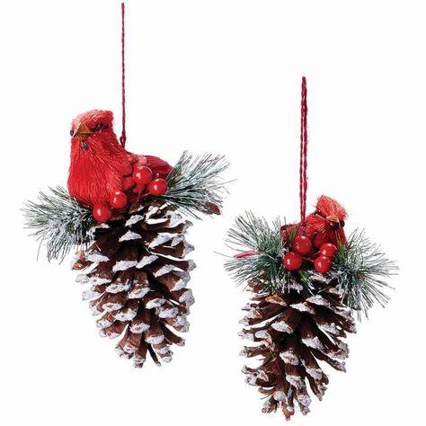 Alcott Hill Cardinal Pine Cone Finial Ornament