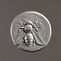 The bee on a silver tetradrachm coin from Ephesus represents the Greek goddess Artemis and her priestesses. (The J Paul Getty Museum)