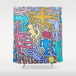 Keith Haring Shower Curtain With Images Tapestry Shower