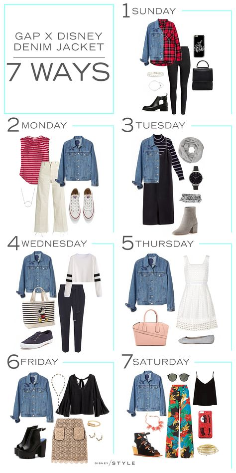 7 Days, 7 Ways: Gap - Mode - Denim Fashion Capsule Wardrobe, Capsule Outfits, Fashion Capsule, Gap Denim Jacket, Jean Jacket Outfits, Denim Jacket Fashion, Denim Jacket Styles, Denim Shirt, Fashion Mode