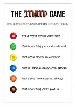 This is a fun get to know you icebreaker activity for students in the first few days of school. Students pull an M&M out of the bag and answer the question associated with the color. Enjoy!