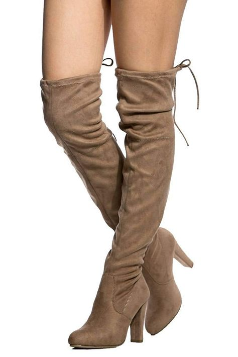 8027c3c842a Women s Diva Thigh High Over The Knee - Drawstring Block Chunky Heel Pointy  Round Toe - Stretchy Thigh High Snug Fit Boots Taupe SU 9 -- Wonderful  having ...