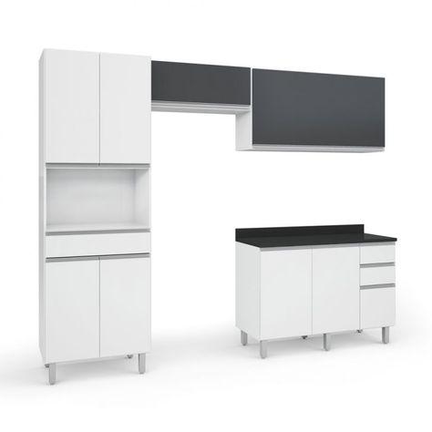 Cozinha Completa Top Class 8 Pt 4 Gv Branca E Grafite Em 2020 Cozinha Completa Cozinha E Design De Interior De Cozinha