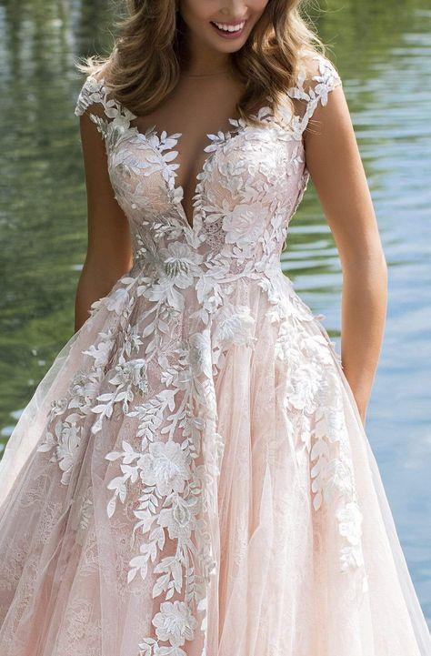 Flowery Wedding Dress, Light Pink Wedding Dress, Wedding Dresses With Flowers, Bridal Dresses, Wedding Dresses For Busty Brides, Whimsical Wedding Dresses, Layered Wedding Dresses, Colored Wedding Gowns, Pink Wedding Gowns