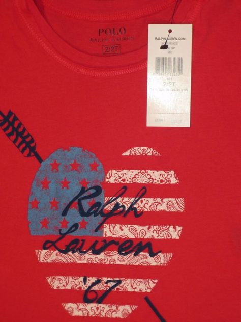 c2b52108127 POLO RALPH LAUREN TODDLER GIRL 2   2T T SHIRT TOP RED AMERICAN FLAG NEW   PoloRalphLauren