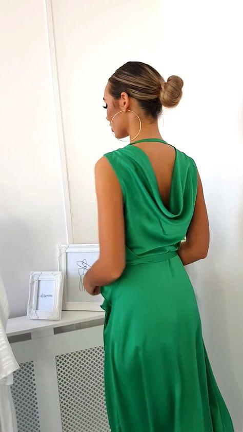 Lynn Frill Hem Midi Dress in Green