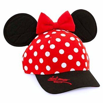 disneyland d baseball cap red white polka dots black brim adjustable strap accessories hats resort minnie