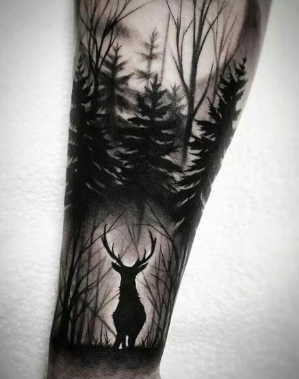 Nature Tattoo Sleeve Nature Tattoos Tattoos Elk Tattoo Forest