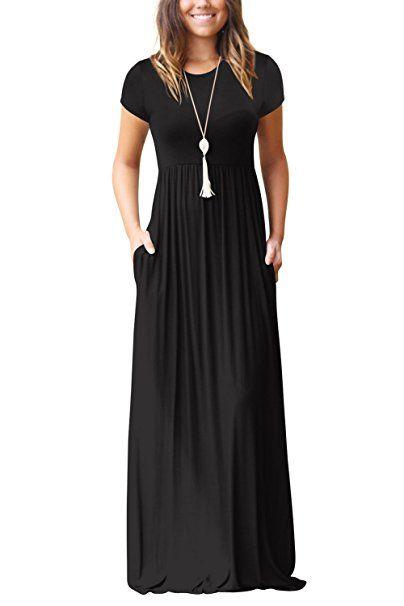 Kurze Armel Maxikleid Damen Sommer Schwarz Basic Jersey Lang Kleid S Sommer Hosen Trends Sommer Outfit Damen Urlaub Somm Sommerkleid Kleider Damen Partykleid