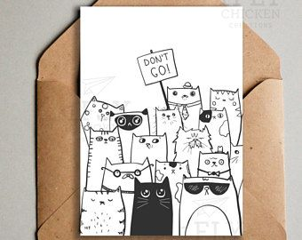 Printable Don T Go Goodbye Cats Greeting Card From All Of Us Coworker Leaving Saying Farewell Ins Farewell Cards Goodbye Cards Printable Greeting Cards