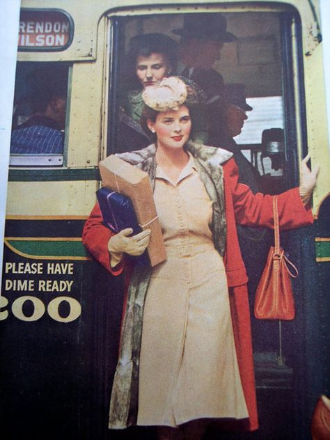 vintage 1940s street style - even today she would look amazing stepping out of the bus like that