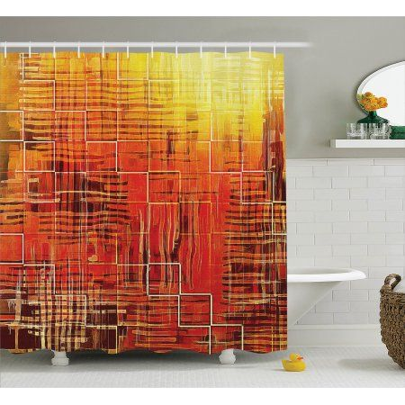 Orange Shower Curtain Set Modern Mosaic Art Texture With Small