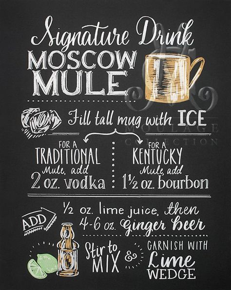 Moscow Mule Signature Drink printable Kentucky bourbon or | Etsy
