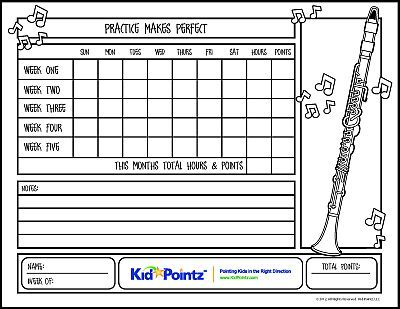 Music Practice Charts for Kids Track Progress Kid Pointz - progress chart for kids