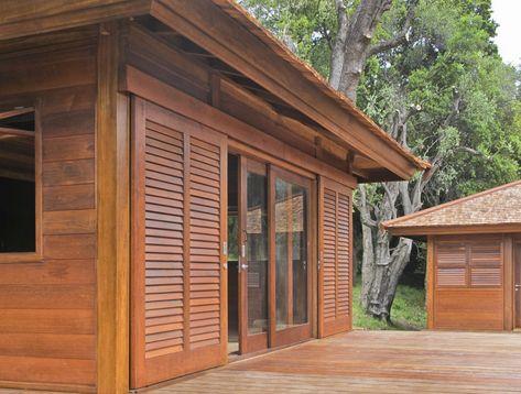 bungalow bois 36 volets et persienne en teck Maison bois