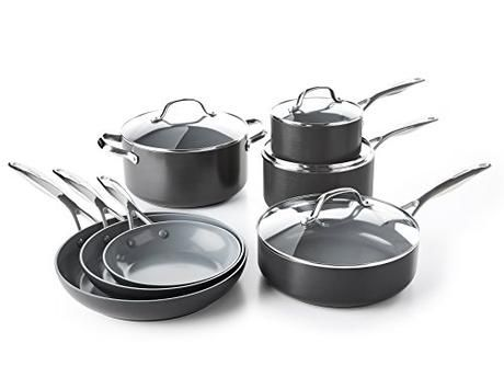 Greenpan Cc000675 001 Valencia Pro Hard Anodized 100 Toxin Free Healthy Ceramic Nonstick Metal Utensil Dish Ceramic Cookware Set Ceramic Cookware Cookware Set