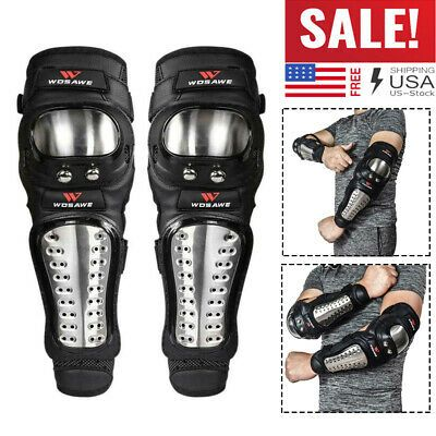 Stainless Steel Knee Elbow Shin Pads Guard Motorcycle Racing Bicycle Protector