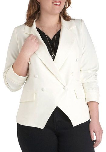 Cruise and Ahhs Blazer in Plus Size, #ModCloth  --  Is that a fancy suit jacket for a plus-sized butch or genderqueer wife/husband/partner?  Why, yes.  Yes, it is.  (YUM.)  $65