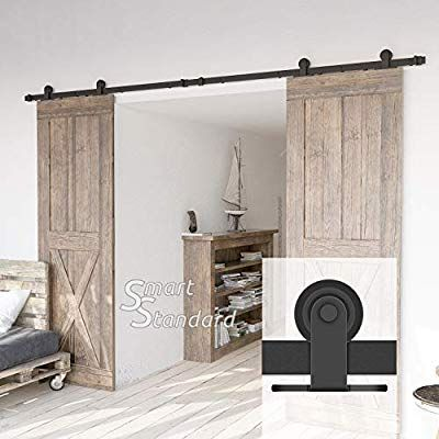 Amazon Com 10ft Heavy Duty Sturdy Double Door Sliding Barn Door Hardware Kit Super Smoothly And Quie Sliding Barn Door Hardware Barn Door Barn Door Hardware