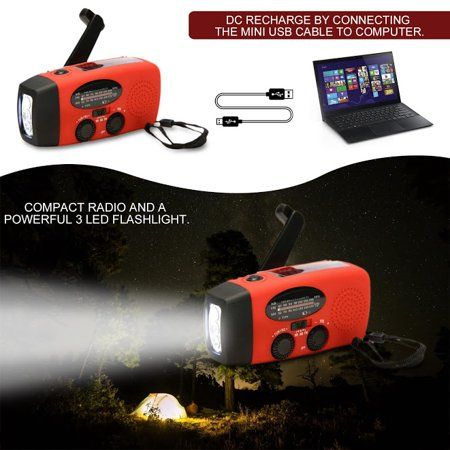 Solar Crank LED Bulb Light Portable Outdoor Camping Tent Lamp With AM//FM Radio