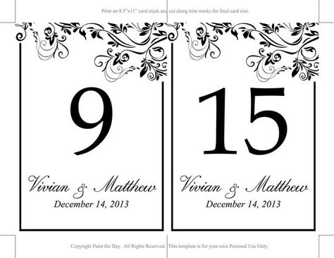 Diy Wedding Table Number Template Black Table Number Microsoft