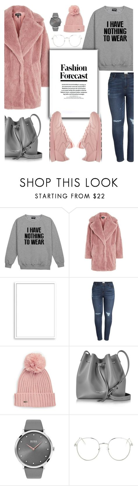 """Get The Look: Pink & Gray"" by glamorous09 ❤ liked on Polyvore featuring Topshop, Bomedo, Caslon, Calvin Klein, Lancaster, BOSS Black, Reebok, pinkandgray and plus size clothing"