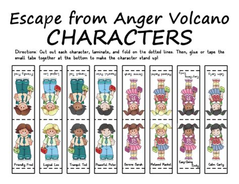 Escape From Anger Volcano Characters Acitivades Terapeuticas