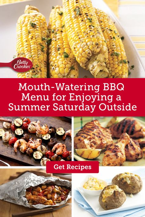 Mouth-Watering BBQ Menu for Enjoying a Summer Saturday Outside features delicious cookout ideas. Pin today for your next BBQ.
