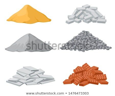 Stock Vector Building Material Piles Red And Lime Brick Cement Heaps Gravel Pile And Reinforced Concrete Slabs Isolated Vec Building Materials Brick Cement