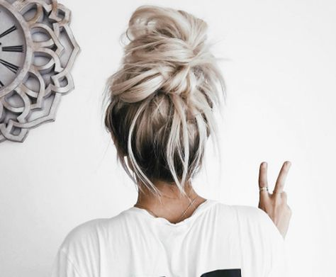 Messy top knot by Emily Rose Hannon