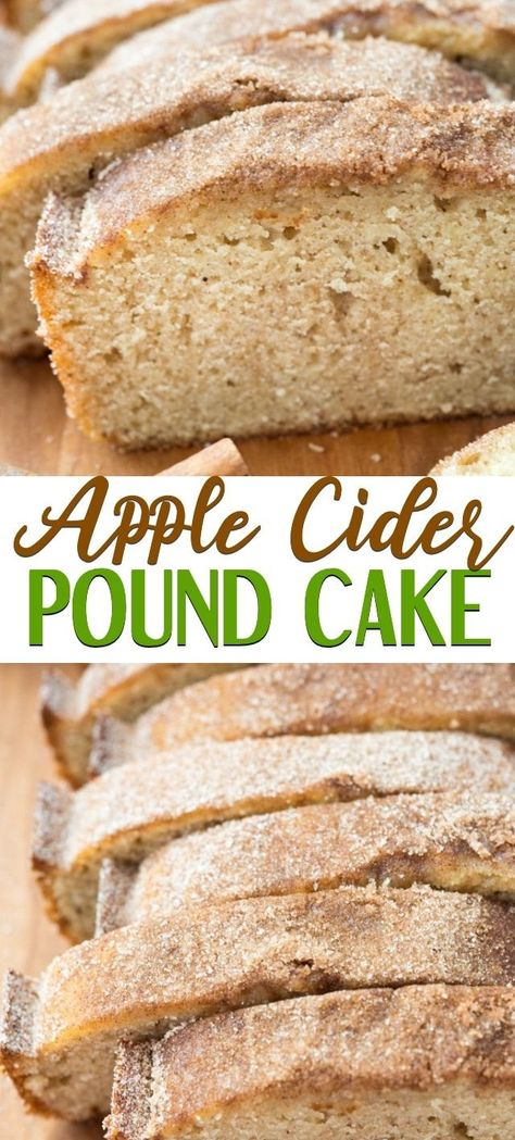 Easy Apple Cider Pound Cake! This loaf cake is full of apple cider for the perfect fall bread. It's like an apple cider doughnut but it's a pound cake! #cake #applecider #fallbaking