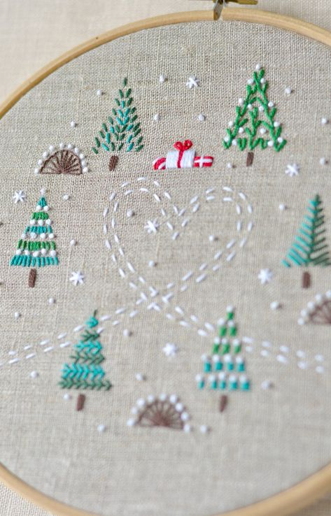Embroidery pattern * Hand embroidery patterns * PDF * Christmas trees * Instant Download * Winter forest * NaiveNeedle