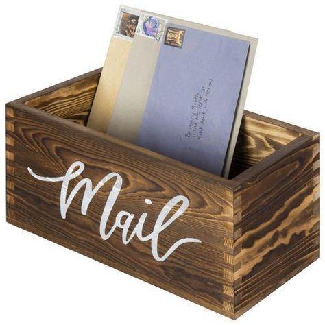Rustic Dark Brown Wood Tabletop Mail Box