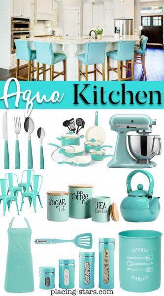 aqua kitchen decor. Aqua cookware, aqua cooking tools, aqua ...