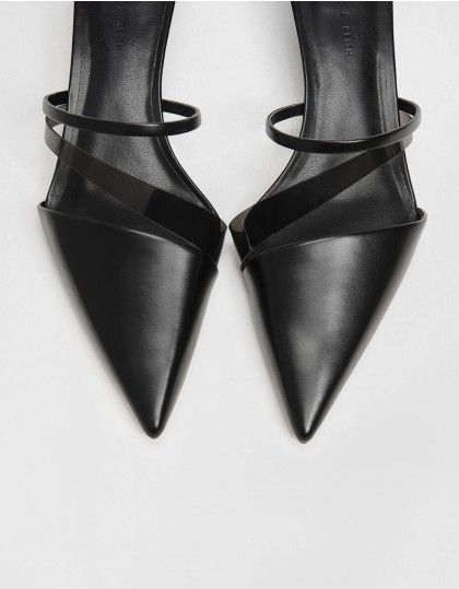 Black Asymmetrical Kitten Heel Mules Charles Keith Sg Faux Leather Heels Kitten Heels Heeled Mules