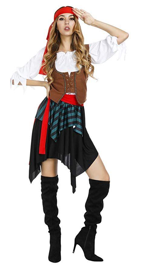 69691cf5ebd Kranchungel Women's Pirate Costume Sweet Buccaneer Halloween ...